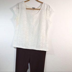 Anne Taylor Lace cap sleeve top Size XL
